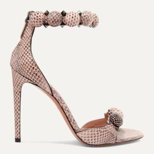 Alaia Bombe 110 Studded Watersnake Sandals
